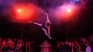 Luftartistik am Aerial Hoop in zur Firmenfeier in Münster